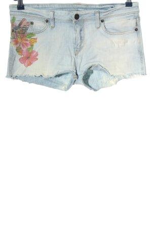 Meltin Pot Short en jean bleu motif de fleur style décontracté