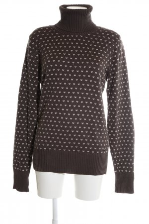 Meltin Pot Rollkragenpullover braun-weiß Allover-Druck Casual-Look