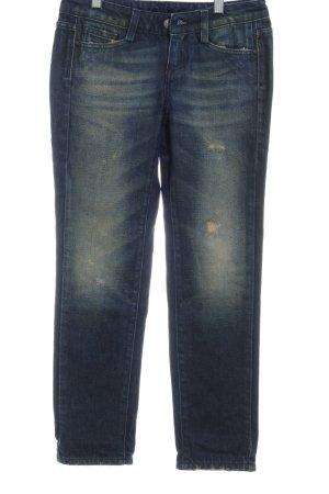 Meltin Pot Slim Jeans dunkelblau-ocker Used-Optik