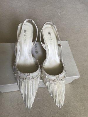 Menbur Slingback Pumps, Off White, Schuhe für Ball / Hochzeit