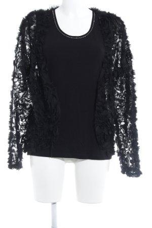 Menke Jersey Twin Set schwarz Blumenmuster extravaganter Stil