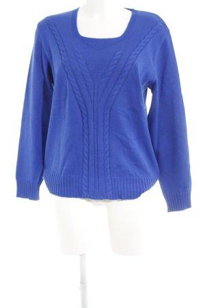 Menke Rundhalspullover blau Zopfmuster schlichter Stil