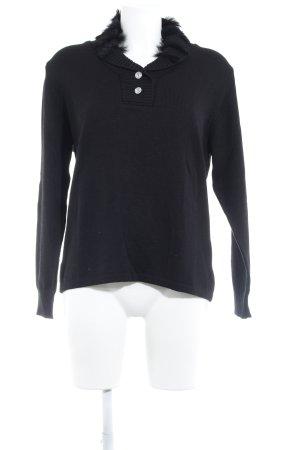 Menke Rundhalspullover schwarz schlichter Stil