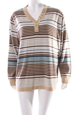 Menke V-Ausschnitt-Pullover Streifenmuster Casual-Look