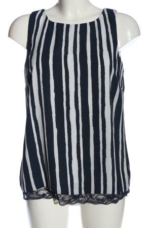 Mercer & Madison ärmellose Bluse schwarz-weiß Streifenmuster Casual-Look