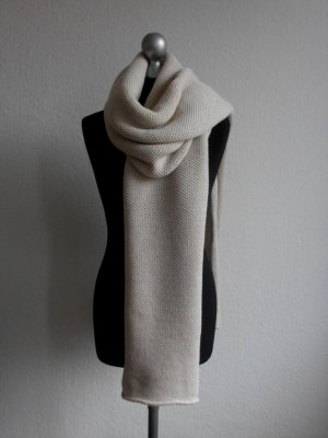 Knitted Scarf pale yellow wool