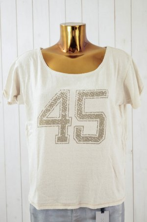 MES DEMOISELLES Damen Sweatshirt Kurzarm Oversized Ecru Print Gold Seide Gr.1/36
