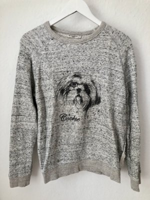 Mes Demoiselles Sweatshirt Pullover Hund Dog Print Grau Gr. 1/S