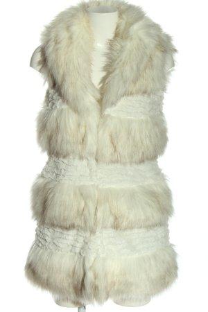 mes Kamizelka ze sztucznym futrem biały W stylu casual