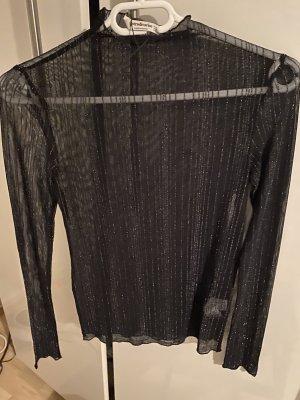 Stradivarius Netshirt zwart-zilver