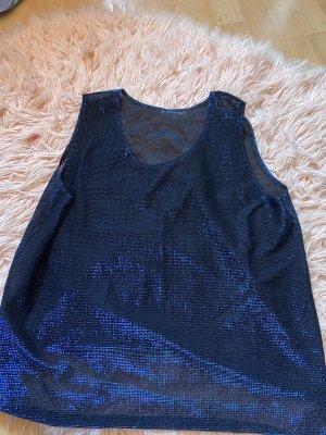 Siateczkowa koszulka czarny-niebieski