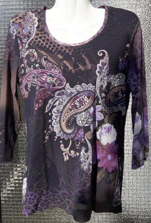 Mesh-Shirt mit Animal/floralem Muster in Gr. 40