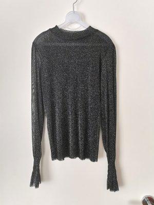 Top maillé noir-argenté tissu mixte