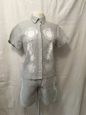 Shirt met korte mouwen lichtgrijs Linnen