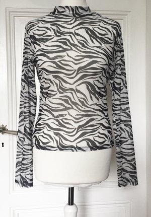 H&M Divided Siateczkowa koszulka czarny-biały Poliester