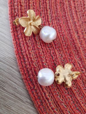 Messing vergoldet Ohrringe mit Perlen aus Italien