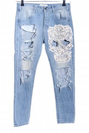 MET Jeans boyfriend bleu-blanc style décontracté