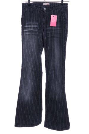 MET Jeans a zampa d'elefante nero-bianco motivo a righe stile casual