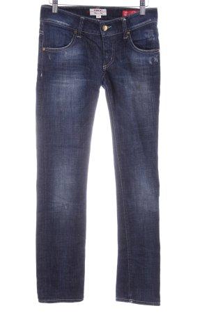 MET Straight-Leg Jeans dunkelblau Washed-Optik
