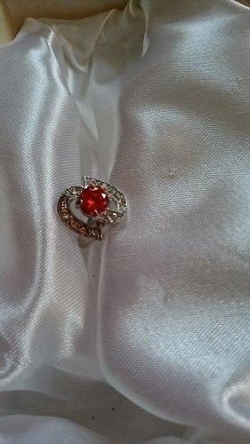 Metall Ring mit Rot und Klar Zirkonia Steine Gr.18