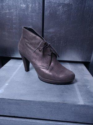 Metallic Effekt Paul Green München Stiefeletten Gr 5 - 38 silber bronze Ankle Boots Absatzstiefelette Stiefelette Stiefel Chelsea Booties High Heels
