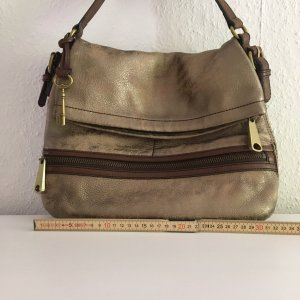 Fossil Handbag brown-gold-colored leather