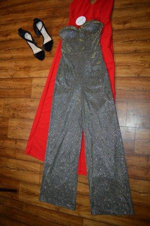 Metallic-Jumpsuit mit weitem Bein und Körbchen Boohoo Gr. 40