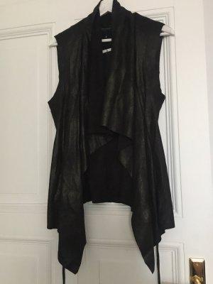 Zara Chaleco de cuero negro
