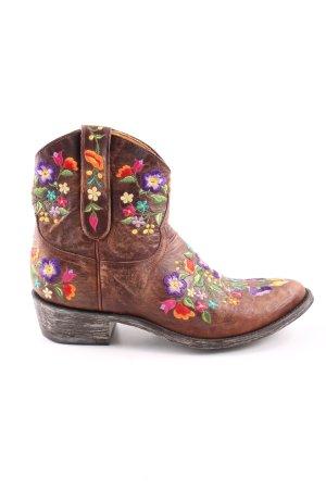 Boots western motif de fleur style décontracté