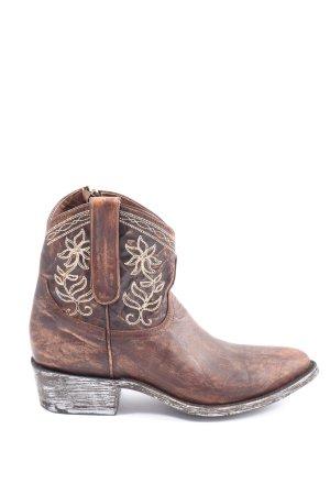 mexicana Buty w stylu western brązowy Wzór w kwiaty Elegancki