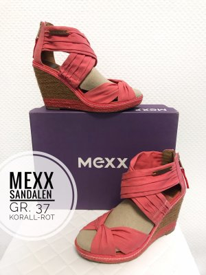 Mexx 37 schuhe Korallen rot peep Toes Keilabsatz sandalen Sommer blogger vintage boho