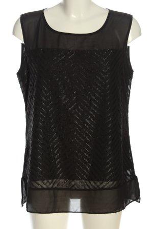 Mexx ärmellose Bluse schwarz-silberfarben Streifenmuster Casual-Look