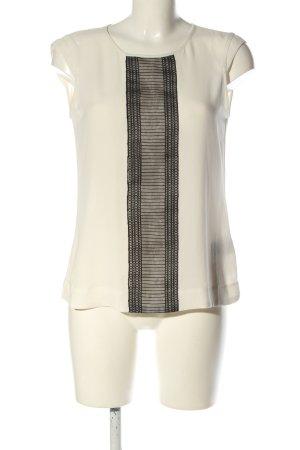 Mexx ärmellose Bluse wollweiß-schwarz Motivdruck Casual-Look