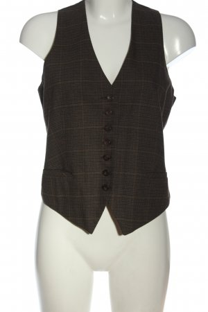 Mexx Waistcoat brown-black check pattern business style