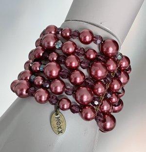 Mexx Armband Modeschmuck Perlen und Steinchen violett