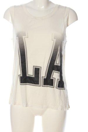 Mexx Basic topje wit-zwart gedrukte letters casual uitstraling