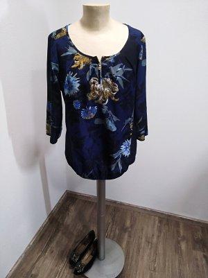 Mexx Bluse dunkelblau Blumenmuster Gr. 38