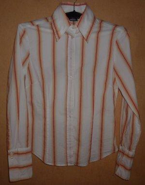 Mexx Bluse langärmelig, gestreift, weiß, orange, gelb, Gr. S