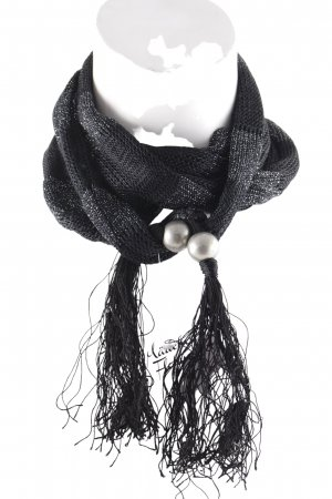 Mexx Fringed Scarf black-silver-colored casual look