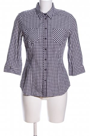 Mexx Hemd-Bluse schwarz-weiß Allover-Druck Business-Look