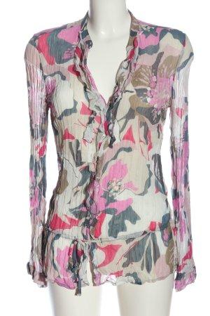 Mexx Hemd-Bluse weiß-pink abstraktes Muster Elegant