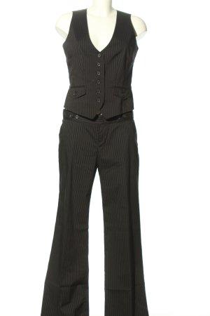 Mexx Traje de pantalón negro-blanco estampado a rayas look casual