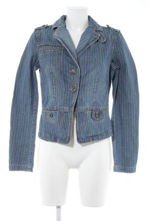 Mexx Jeansjacke stahlblau-weiß Streifenmuster Casual-Look