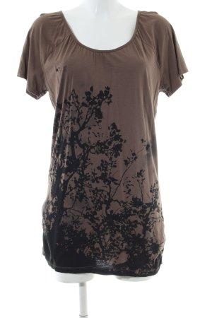 Mexx Jerseykleid braun-schwarz Blumenmuster Casual-Look