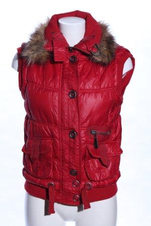 Mexx Chaleco con capucha rojo-marrón estampado acolchado look casual