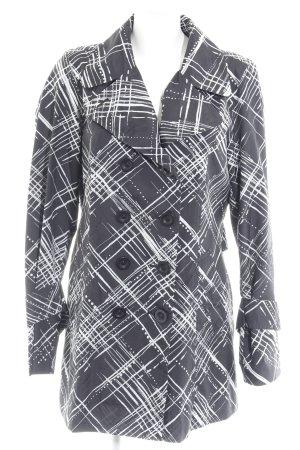 Mexx Kurzmantel schwarz-weiß abstraktes Muster Casual-Look