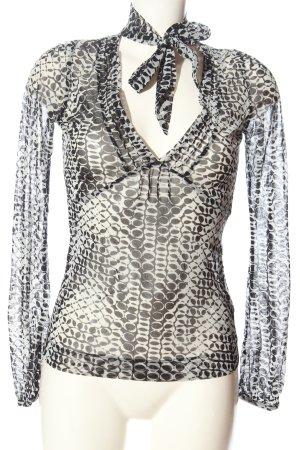 Mexx Langarm-Bluse schwarz-weiß abstraktes Muster Casual-Look