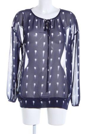 Mexx Langarm-Bluse blau-weiß Casual-Look