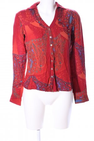 Mexx Langarm-Bluse rot-blau Allover-Druck Elegant