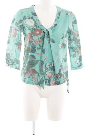 Mexx Langarm-Bluse türkis Blumenmuster Elegant